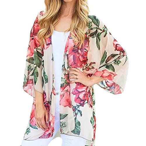 TANLANG Women's New Floral Dot Printed Cover Dress Beach Swimsuit Cover Ups Long Vintage Kimono Cardigan Dress White ()