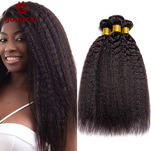 9A Kinky Straight Hair 3 Bundles Yaki Human Hair Weave Unprocessed Brazilian Virgin Remy Hair Extensions Natural Black (12 14 16) (Best Curly To Straight Weave)