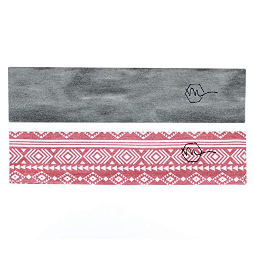 Maven Thread Women's Headband 2'' Wide Yoga Running Exercise Sports Workout Athletic Gym Wide Sweat Wicking Stretchy No Slip 2 Pack Set Red Grey Aztec by Maven Thread