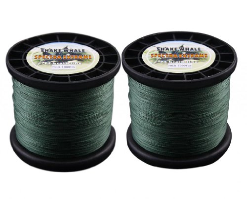 Shake Whale 100-Percent PE Good Quality Briad Fishing Line 70LB 3000Yards Green 1Pcs 1000Y and 2000Y