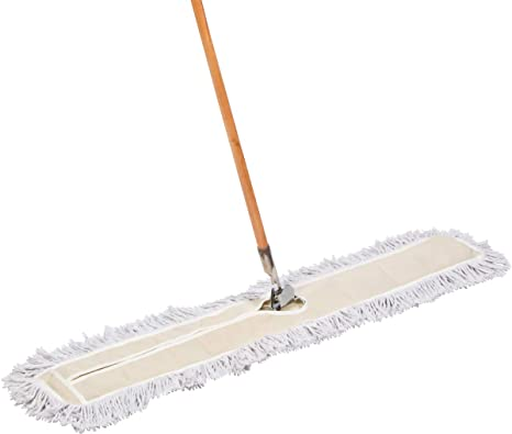 Tidy Tools 48 Inch Industrial Strength Cotton Dust Mop with Wood Handle and  Frame  48'' X 5'' Wide Mop Head with Cut Ends - Hardwood Floor Broom