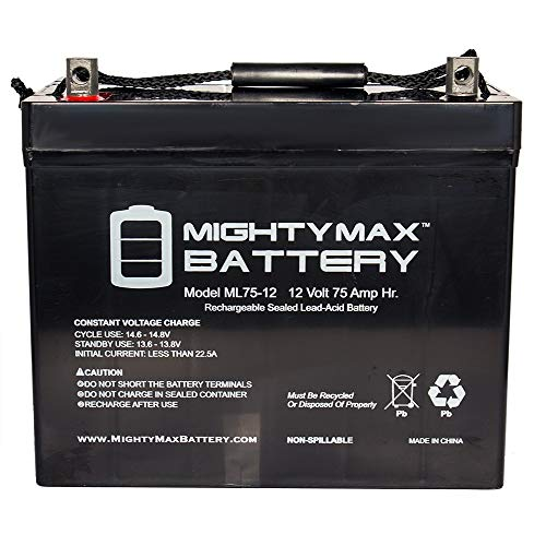 Mighty Max Battery ML75-12 12V 75Ah Battery for Scooter Wheelchair Golf Cart Electric DC Brand Product