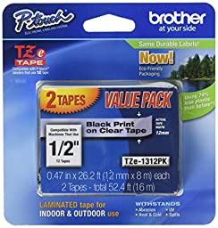 Brother TZe Tape - 1/2 Inch, Black on Clear, 2 Pack  - TZe1312pk