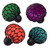Elisona-4 PCS TPR Stress Relief Squeeze Grape Mesh Ball Toy Christmas Gift