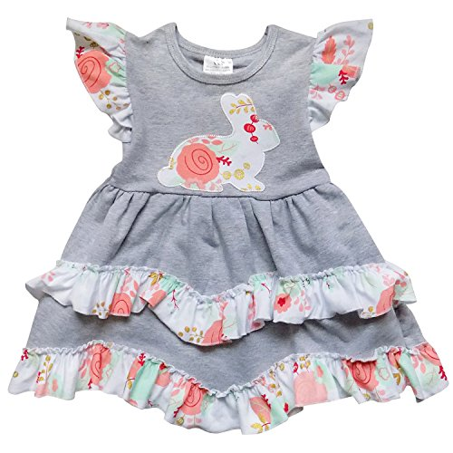 So Sydney Toddler Girls 1-3 Pc Flutter Short Sleeve Ruffle Spring Easter Bunny Dress (XS (2T), Bunny Gray Floral)