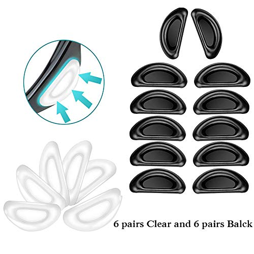 Eyeglass Nose Pads Sticky Pads Silicone Glasses Nose pad Stick on Eyeglass, Reading Glasses, Sunglasses, Adhesive Silicone Anti-Slip Nosepads(Clear and Black, ()