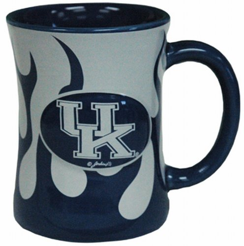 NCAA Kentucky Wildcats Ceramic Relief Flame Design Mug, Team Color