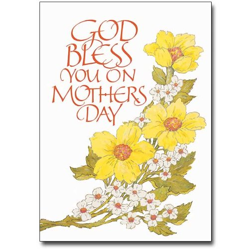 Mother's Day Deluxe Religious Greeting Card w/Flowers, Mom's Prayer HC w/Embossed Envelope & Free Cross Bookmark