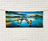 Anniutwo Turquoise,Hand Towel,Surreal Landscape with Wood Deck and Clouds in Sky Dreamlike Coastal Charm,Quick-Dry Towels,Turquoise White Size: W 20'' x L 20''