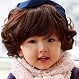 Spritech(TM) Children's Lovely Stylish Deep Brown Fluffy Realistic Short Wavy Curly Hair Wig Fiber Synthetic Wig for 0-3 Years Old Girl