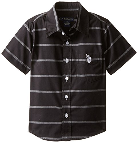 U.S. Polo Assn. Boy's Short Sleeve Chambray Sport Shirt,HD76-Black, 5/6