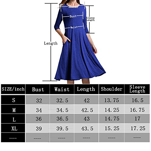 Sleeve A Blue 3 Yige Pocket and Long Midi Light Flare with Dress Women's line 4 fAHwwxqU4n