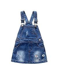 Kidscool Baby & Little Girls Cartoon Decor Jeans Overalls Dress