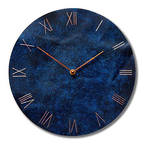 (Large Copper Wall Clock 12-inch - Round Decorative Rustic Metal Original - Silent Non Ticking Quartz for Home)