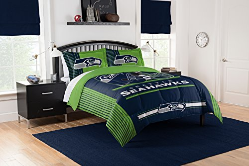 (Officially Licensed NFL Seattle Seahawks Safety Full/Queen Comforter and 2 Sham Set)