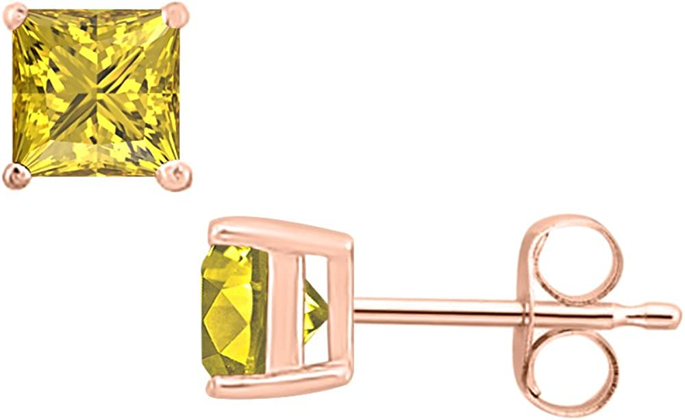 Solitaire Fashion Stud Earrings 14K Rose Gold Over .925 Sterling Silver RUDRAFASHION 3.00 CT Princess Cut Yellow Sapphire 6MM