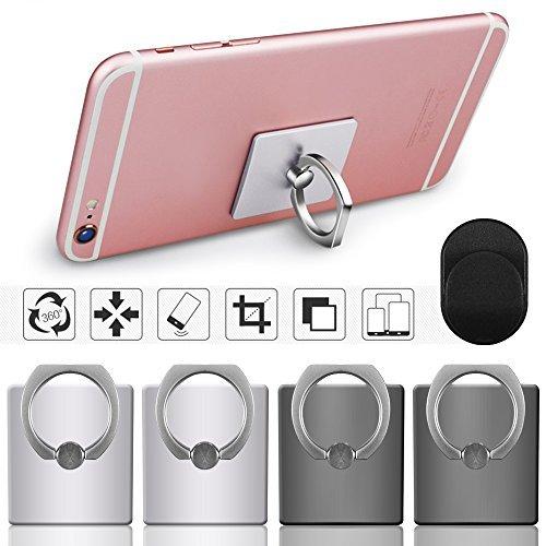 Cell Phone Holder, 4 Pack SENHAI Universal Smartphone Ring Grip Stand Car Mounts for iPhone, Ipad, Samsung HTC Nokia Smartphones, Tablet (2 Black, 2 Sliver)