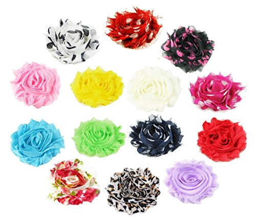 Hair Flower Bow (HipGirl 14 Colors Baby Girl Women Shabby Chiffon Flowers Lined Hair Bows Clips for Teens Kids Babies Toddlers Adults--Small 2