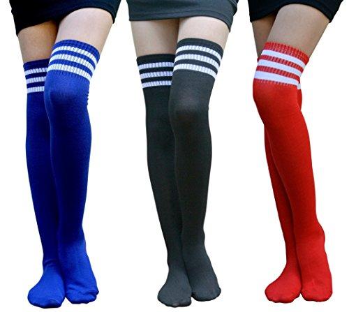 AM Landen Stripe Thigh High Over Knee Socks Knee High Socks Cheerleader Sport Tube Socks (3-Black+Red+Blue)