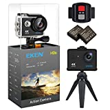 EKEN H9s Action Camera 4K WiFi Ultra HD Waterproof Sports Camera 2 Inch LCD Screen with 2 Rechargeable 1050mAh Batteries and Charging Dock Free Bicycle Handlebar includes 11 Mountings Kit Black