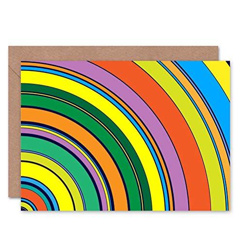 Multi Coloured Circles - Wee Blue Coo Retro Circles Multi Coloured Blank Greetings Birthday Card Art