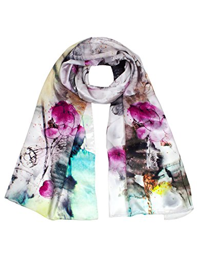 Dahlia Women's 100% Luxury Long Silk Scarf - Abstract Watercolor Painting