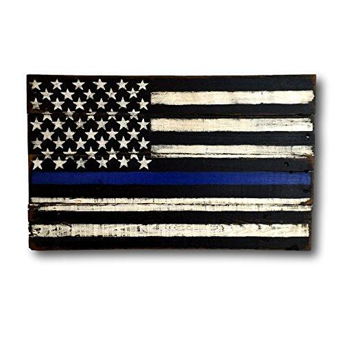 (Thin Blue Line Flag/ Thin Blue Line Wood Flag/ Law Enforcement Sign)