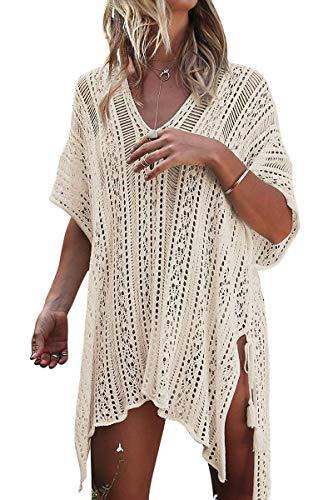 Infinilla Women's Swimsuit Cover Up Summer Crochet Bathing Suit Swimwear Bikini Beach Coverup Dress Beige