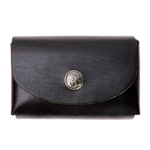ZLYC Unisex Handmade Vegetable Tanned Leather Credit Card Holder Slim Wallet, Black