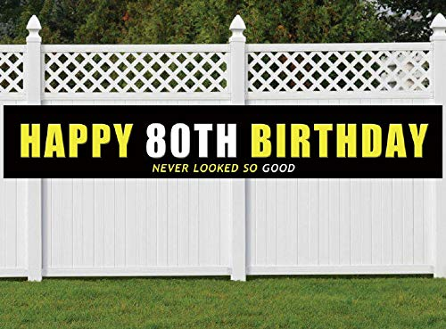 80th Birthday Banner, Large Happy 80th Birthday Sign, 80 Bday Party Decoration Supplies ()