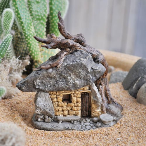 Miniature Dollhouse FAIRY GARDEN /Troll Rock House With Tree