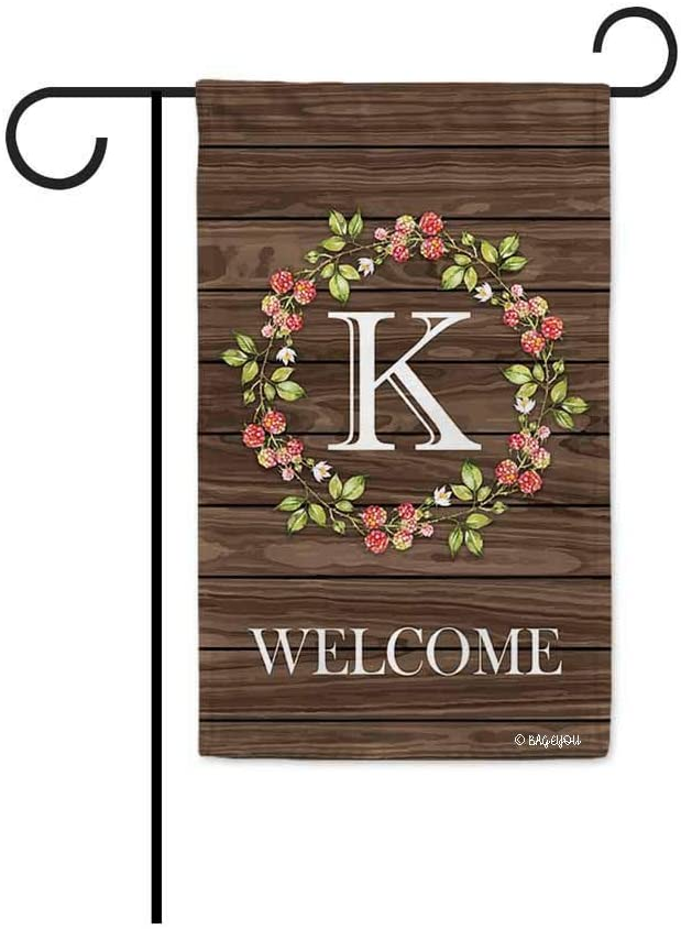 BAGEYOU Welcome Wreath Floral Spring Summer Decorative Garden Flag Monogram Initial K Decor Yard Banner Family Flag 12.5 X 18 Inch Printed Double Sided