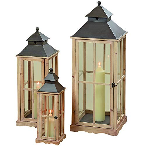 Whole House Worlds The Extra Tall French Country Style Rustic Lanterns, Set of 3, Chateaux Style, Metal Roof, Swing Latch, Cross Post Glass Panels, Natural Wood Frames, From 2 to Over 3 FT Tall, By