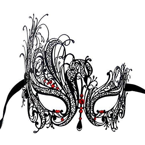Red & Black Venetian Mask (Xvevina Women's Black Metal Filigree Luxury Masquerade Mask (Black Metal/Red Stones))