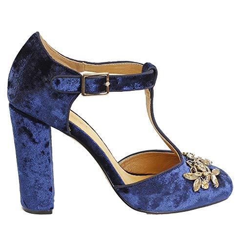 El Caballo … Zapato Tacon Zhi0774 37 Terciopelo Azul rr6dwqc7f