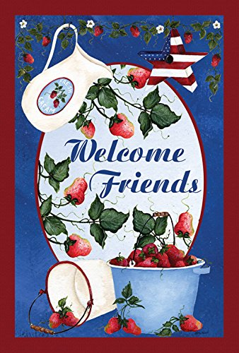 Toland Home Garden Berries and Cream Welcome 28 x 40 Inch Decorative Patriotic Summer Friends Strawberry House Flag