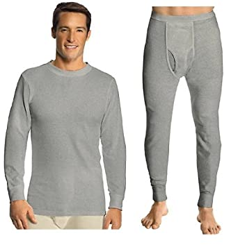 Hanes Everyday Men's Thermal Set (Long Sleeve Crew and Long Johns ...