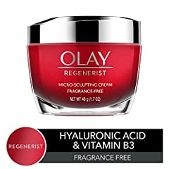 Regenerist is Olay's Advanced Anti-Aging Skin Care Collection. Micro-Sculpting Fragrance-Free Face Moisturizer Formula is designed with Advanced Anti-Aging ingredients for visible wrinkle results starting day 1. Infused with Hyaluronic Acid, ...