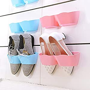 Z.N.Z Wall-Mounted Sticky Hanging Shoe Holder Hook Shelf Rack Organiser Accessories Storage Holder with 4pc Double Sides Tape (Pink)