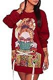 FOXRED Women's Round Neck Long Sleeve Cartoon Printed Loose Shirt Dress