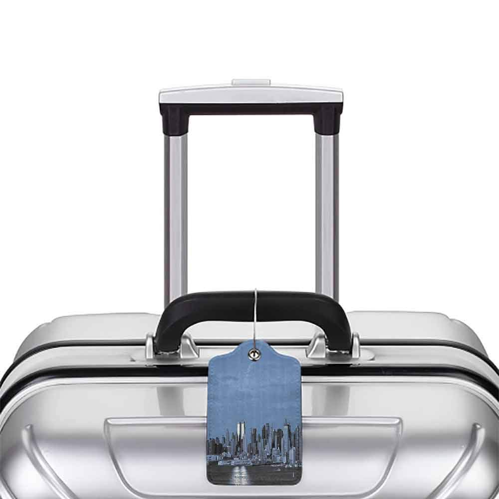 Modern luggage tag Urban New York City Skyline Panorama Nighttime Riverscape Building Modern Metropolis Suitable for children and adults Slate Blue Grey W2.7 x L4.6