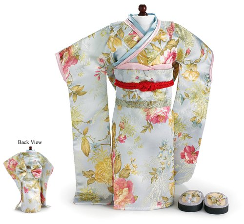 CARPATINA Doll Clothes Sun Japanese Kimono, Obi Sash and Sandals Fit 18