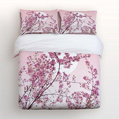 Cloud Dream 4 Pieces Bedspread,Flat Sheet, Shams Set, Hypoallergenic Breathable Soft Microfiber Cherry Blossom with Hidden Zipper (Twin)