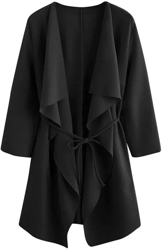 baskuwish Womens Coats,2018 New Women Casual Waterfall Collar Pocket Front Wrap Coat Jacket Overcoat