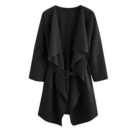 LILICAT® Mujeres Casuales Cascada Cuello Bolsillo Frente Abrigo Abrigo Chaqueta Outwear (Rosa Negro Rojo