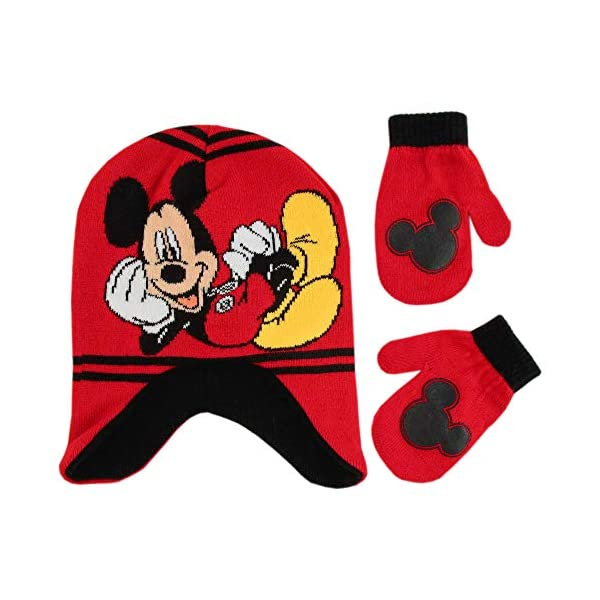 Disney Boys' Toddler Mickey Mouse Clubhouse Hat and Mittens Cold Weather Set, red/black, Age 2-4