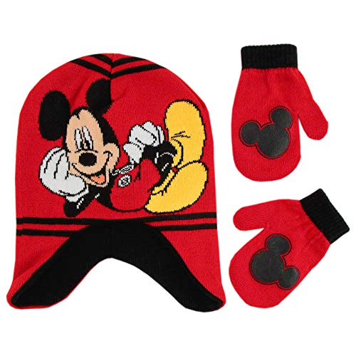 Disney Boys Toddler Mickey Mouse Clubhouse Hat and Mittens Cold Weather Set, red/Black, Age 2-4