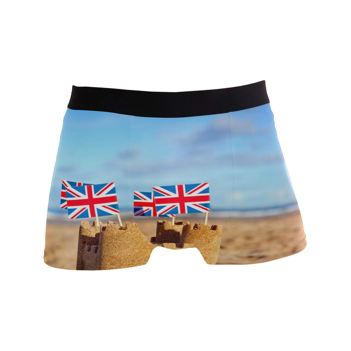 ZZKKO Castle British Flag Mens Boxer Briefs Underwear Breathable Stretch Boxer Trunk with Pouch S-XL