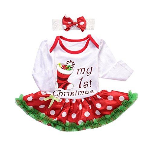 Winsummer Newborn Baby Girls Christmas Costume Tutu Romper Dress Outfit with Headband (12-18M, White) - White Tutu Costume Ideas