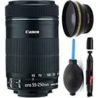 Canon 55-250mm IS STM Lens + Deluxe Lens Cleaning Pen + Deluxe Lens Blower Brush + High Definition Wide Angle Auxiliary Lens